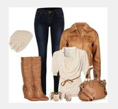 blouse,top,shirt,draped neck,draped top,half sleeve,jacket,coat,leather jacket,bag,purse,shoes,heels,high heels,boots,tall boots,wedge boots,cream top,taupe top,hat,knit hat,pants,jeans,gathered top,clothes,outfit