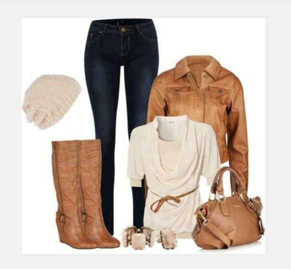 shirt hat clothes top cream top blouse jeans high heels bag purse outfit coat shoes draped neck boots draped top half sleeve jacket leather jacket tall boots wedge boots taupe top knit hat pants gathered top