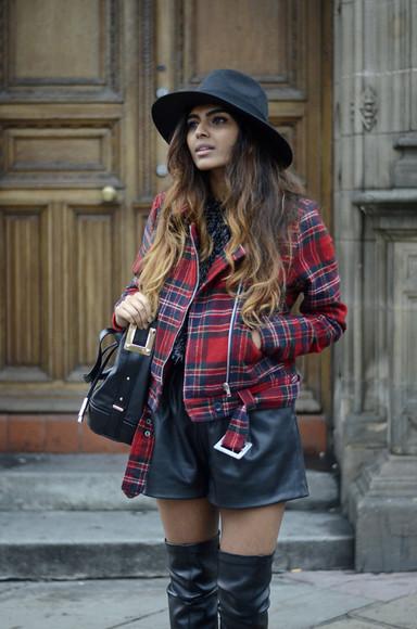 leather jacket bag thigh high boots shorts she wears fashion blogger tartan