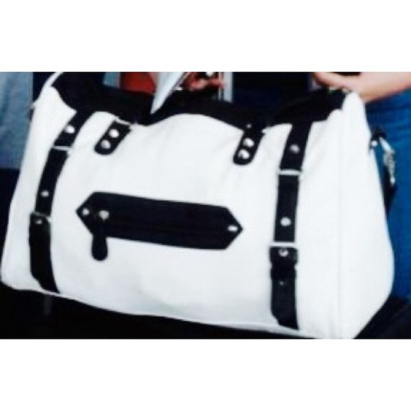 white large black bag overnight bag cabin bag big
