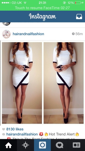 white dress band skort blonde hair girl clutch bag high heels asymmetrical angle cross overlap bandage dress sleeves