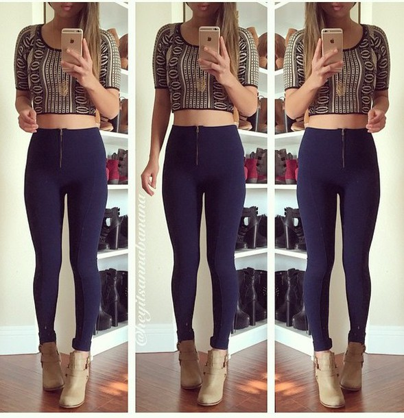leggings pants crop tops shoes printed crop top jewelry annabannana shirt