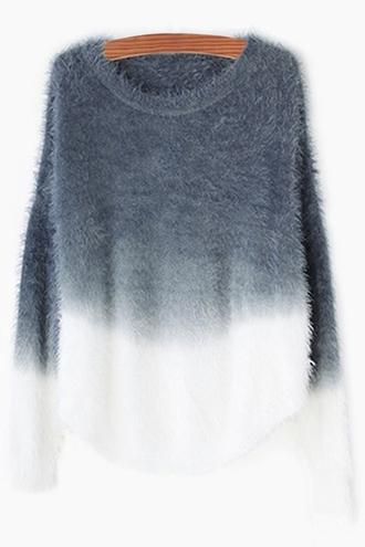 sweater grey ombre bleach dye ombre knitwear style zaful trendy winter sweater