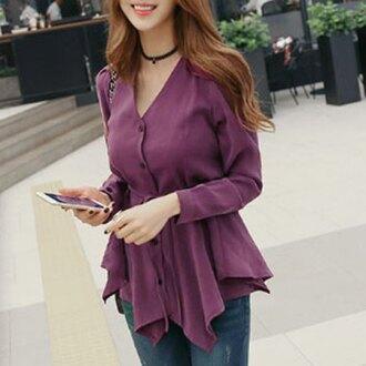 blouse peplum stylish rose wholesale girly korean style top style long sleeves purple fashion