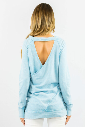 sweater blue open back fashion style trendy long sleeves comfy freevibrationz light blue
