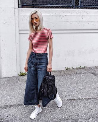 t-shirt tumblr red t-shirt stripes striped t-shirt denim jeans blue jeans wide-leg pants cropped jeans sneakers white sneakers shoes