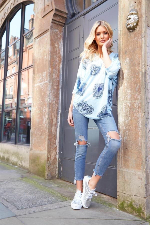 blouse blue vanilla oversized shirt light blue blue top zip pattern summer trend