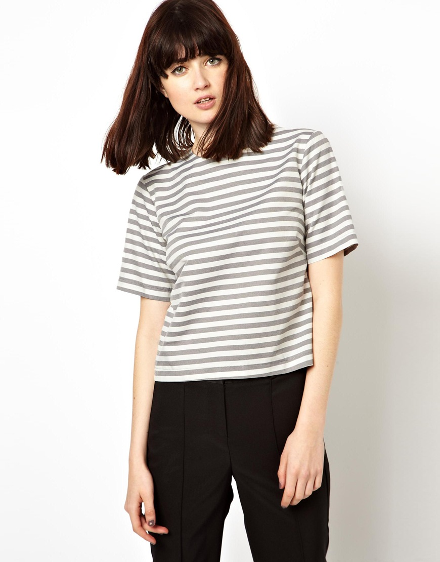 ASOS Shell Top in Washed Stripe at asos.com