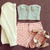 shorts,High waisted shorts,polka dots,pink,bralette,denim bralet,cute,cute shorts,dress,crop tops,sweater,shoes,skirt,tank top,outfit,pastel,white,cream,blue