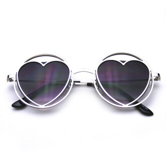 sunglasses heart sunglasses hippie metal white