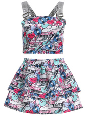 dress,two-piece,two piece dress set,harajuku,heart,pink,blue,white,decora,kawaii