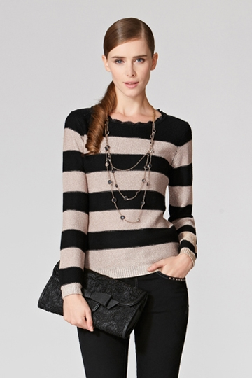 Stylish Color Contrast Striped Sweater [FKBJ10359]- US$ 58.99 - PersunMall.com
