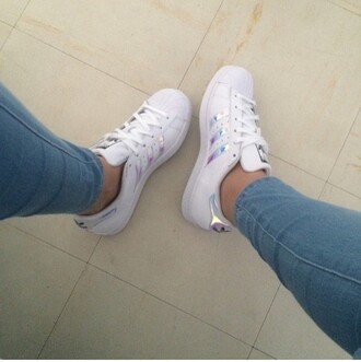 shoes holographic shoes white adidas adidas superstars jacket