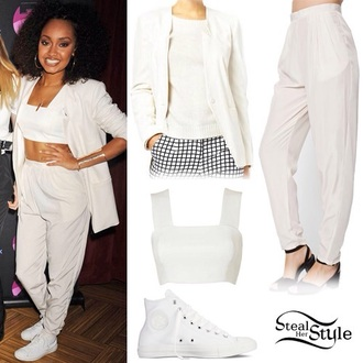 little mix white coat white blazer leigh-anne pinnock crop tops