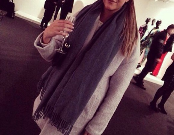 beautiful grey winter sweater scarf clothes