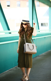 dress corilynn,blogger,jacket,shoes,bag,dress,top,sunglasses,jewels,midi dress,green dress,olive green,grey bag,crossbody bag,michael kors bag,michael kors,brown sunglasses,hat,sun hat,sandals,flat sandals,fringed sandals