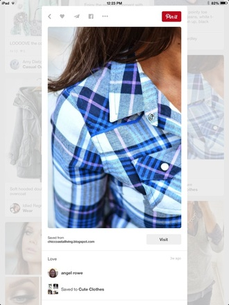 shirt flannel shirt plaid blue