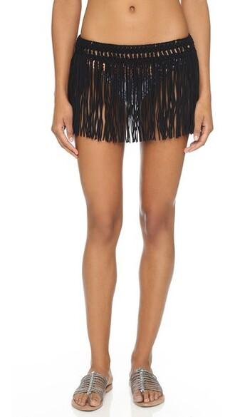 skirt fringe skirt black