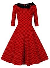 dress,50s style,50s dress,red dress,polka dots dress,a-line bateau,spliced bateau dress,vintage,vintage dress,vintag,vintage style evening gowns,1950 vintage dress,red vintage dress,short vintage dress,short vintage dresses