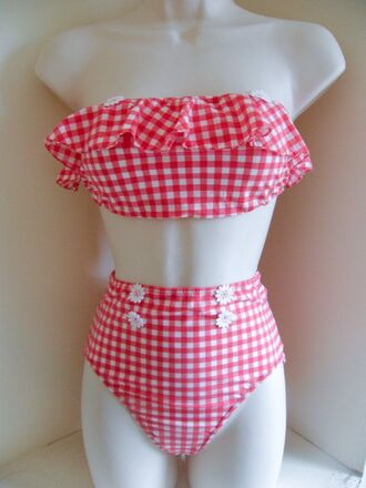 swimwear gingham red lolita nymphet cute kawaii red gingham nymph dolores haze vintage retro old fairy