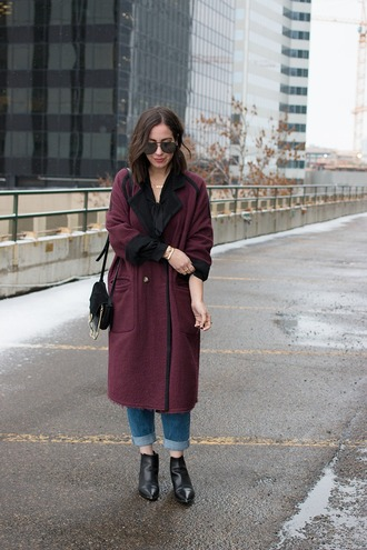 adventures in fashion blogger coat blouse jeans sunglasses shoes bag jewels ankle boots shoulder bag fall outfits