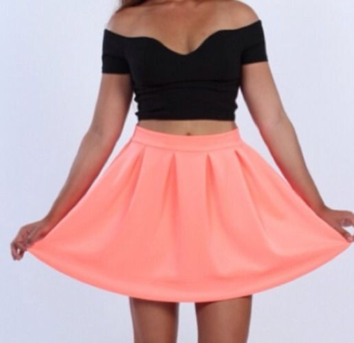 Neon Peach Scuba Skater Skirt Flared Rockabilly Mini Size s M L | eBay
