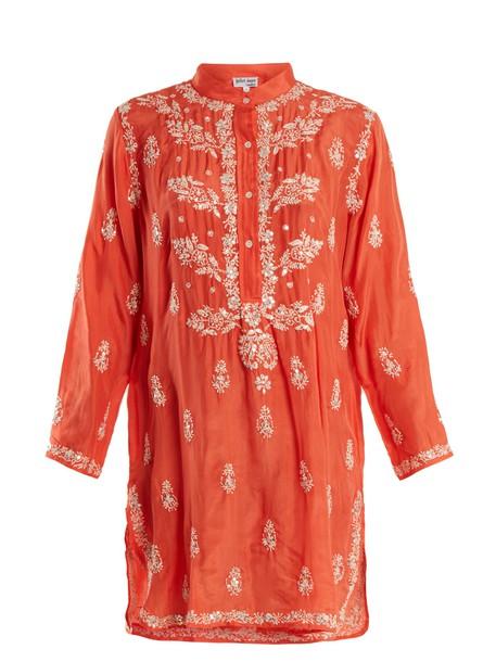 shirtdress embroidered floral silk red dress