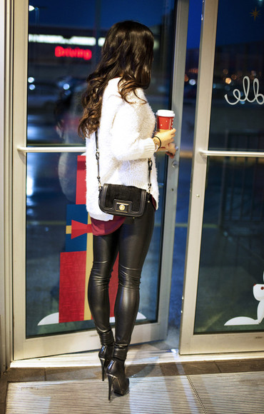 black leather sexyinleather leather pants skin tight sweater white sweater