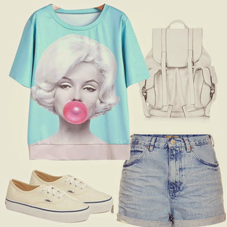 shirt marilyn monroe shirt graphic tee t-shirt vans keds white blue light blue light washed denim denim denim shorts bag purse shorts shoes
