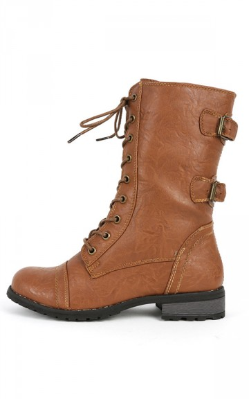 Wild Diva Timberly-02 Lace Up Combat Boots | MakeMeChic.com