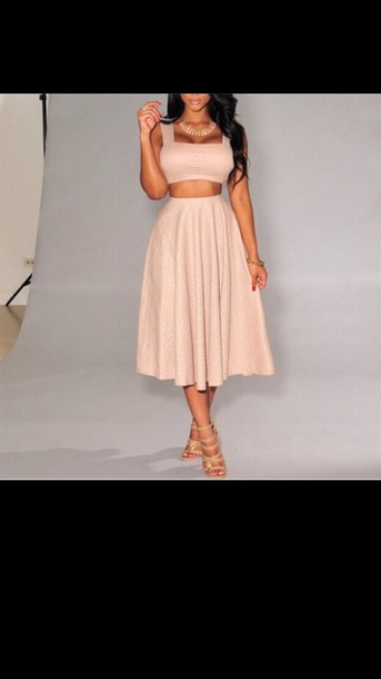 dress skater skirt two-piece nude