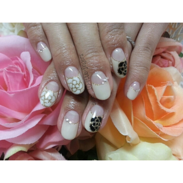 nail accessories glitter french nail polish roses