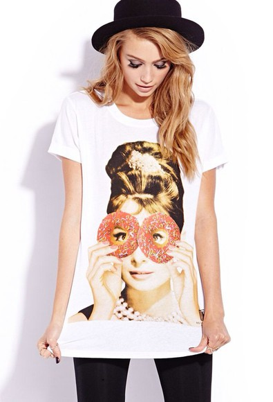 audrey hepburn donut graphic tee t-shirt graphic crop tops graphic tees graphic tank top graphic t-shirt donuts hat