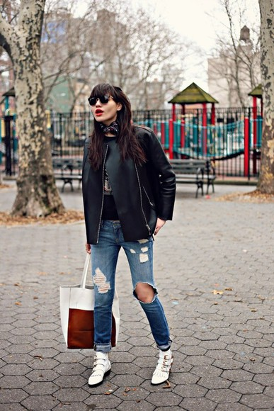 natalie off duty shoes jeans sweater sunglasses jacket