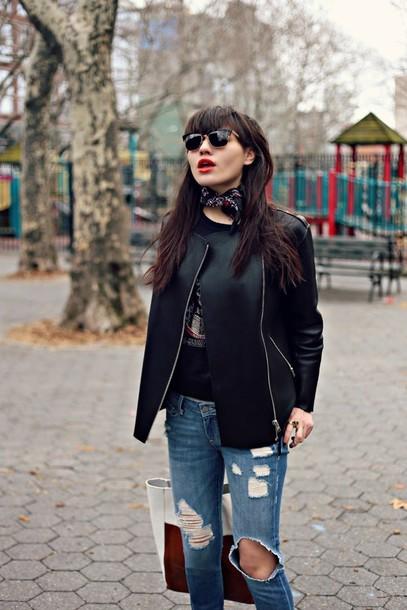 natalie off duty sunglasses jacket sweater jeans shoes