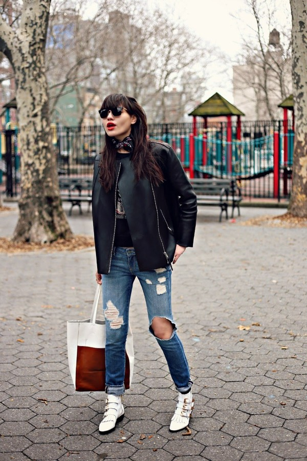 natalie off duty sunglasses jacket sweater jeans shoes