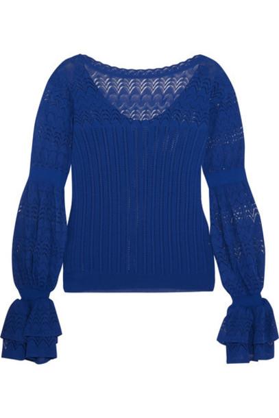 oscar de la renta top blue knit bright