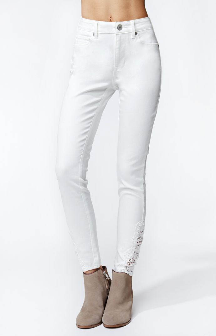 Kendall & kylie high rise lace skinniest jeans at pacsun.com