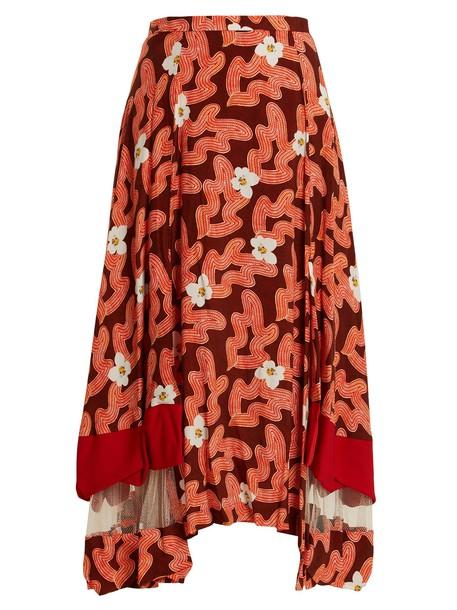skirt midi skirt midi floral print red