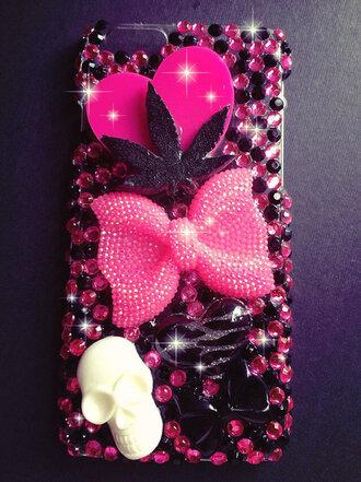 phone cover grunge tumblr pink bow skull bling weed leaf weed pot leaf