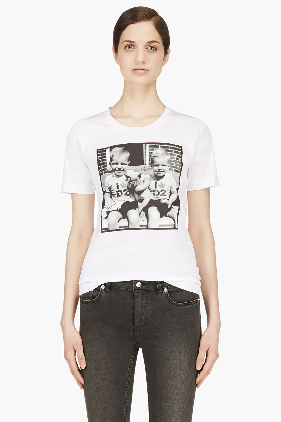 dsquared2 white twin babay pic t_shirt