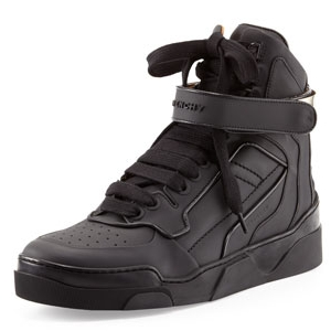Givenchy Black High-Top Gold-Strap Sneaker - Sale