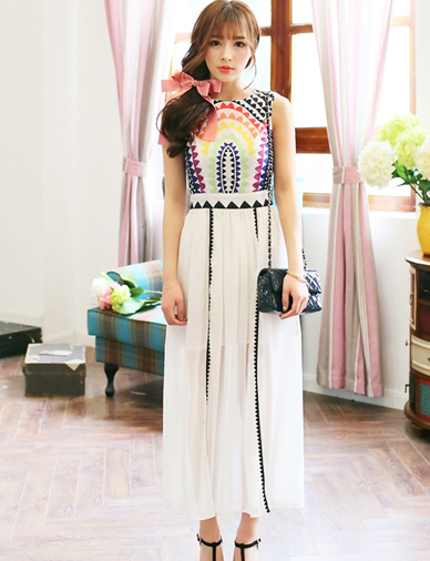 New Arrival Colorful Geometry Printed Sleeveless Maxi Dress - Dresses Code: 1326175 - Cheap Wholesale Price at ClothesCheap.com