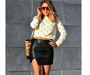 2014 NNew F/W Black Asymmetrical Faux Leather Mini Side Open Skirt ...