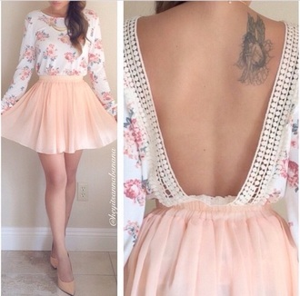 top pink flowers earphones skirt shirt floral crochet lining deep cut back long sleeves dress skater skirt skater dress peach cream backless backless dress cute back to school fashion vintage boho chic bohemian roses tattoo floral top chiffon skirt tulle skirt cute outfits cute top blouse