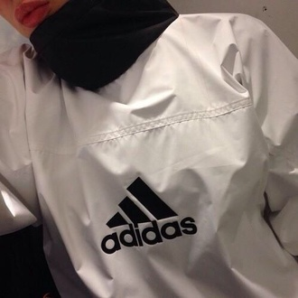 jacket black and white adidas vintage windbreaker pullover