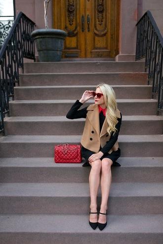atlantic pacific blogger red bag camel coat