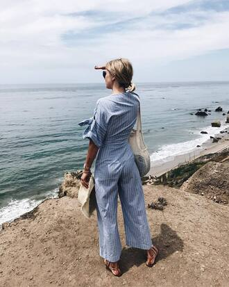 pants hat tumblr blue pants wide-leg pants stripes jumpsuit bag sun hat blue jumpsuit top shoes