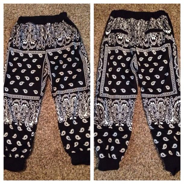 jeans black white bandana pants baggy pajamas black and white jogging  pantss swag joggers dope style bandana print joggers