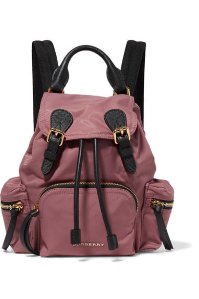 Burberry Prorsum - Small Textured Leather-trimmed Gabardine Backpack - Antique rose